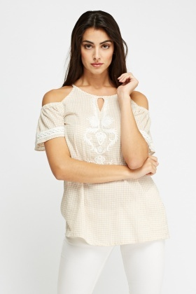 Checked Cold Shoulder Stitched Top