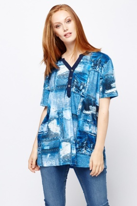 Denim Print Contrast Top