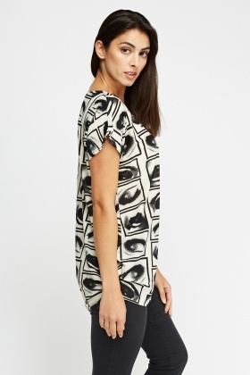 Eyes Printed Casual Top