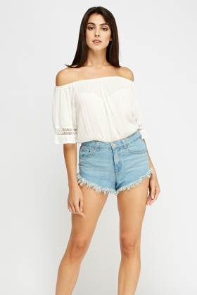 Fringed Hem Denim Hotpants