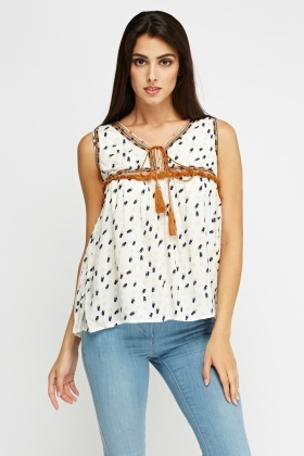 Fringed Trim Printed Top