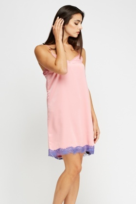 Lace Hem Silky Night Dress
