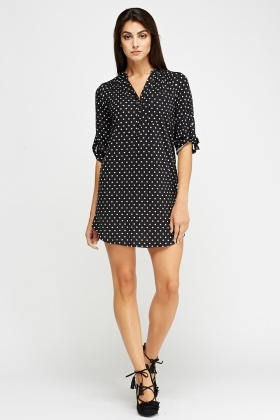 Polka Dot Mini Shift Dress