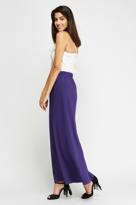 Purple Elastic Maxi Skirt
