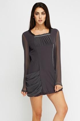 ruched side pocket dress dark grey or khaki just 5. Black Bedroom Furniture Sets. Home Design Ideas