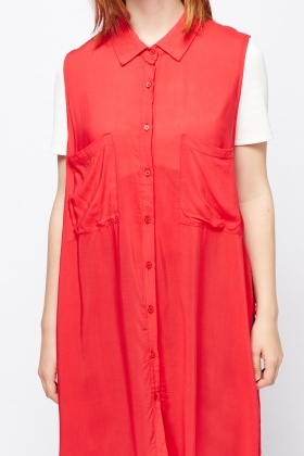 Sleeveless Long Line Shirt