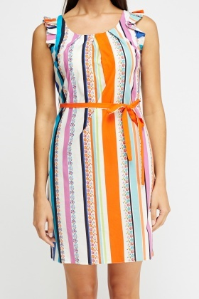 Striped Mixed Print Dress
