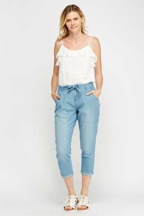 Denim Cropped Casual Trousers