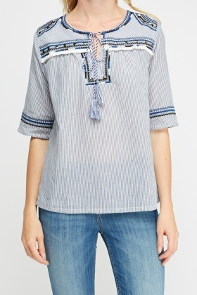 Embroidered Trim Striped Top
