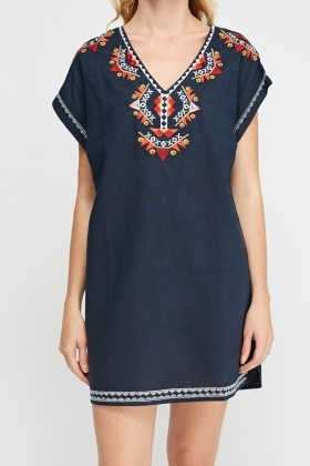 Embroidered Trim Tunic Dress