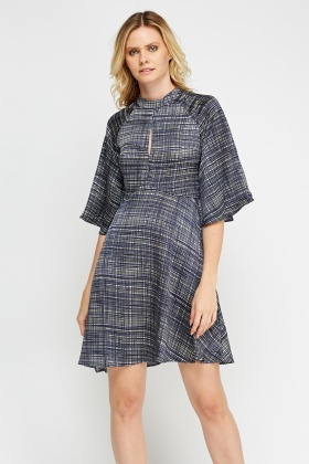 Flared Sleeve Printed Dress