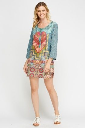 Printed Tie Up Neck Tunic Dress