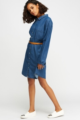 Button Up Denim Blue Dress
