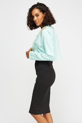 Metallic Insert Crop Mint Blazer