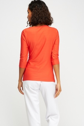 Ruched Side Red Top