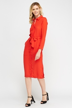 Slit Side Tie Up Shirt Dress