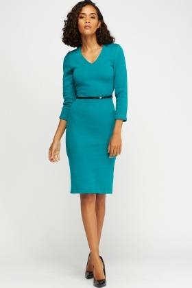 V-Neck Belted Midi Dress