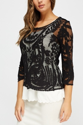 2 In 1 Mesh Overlay Top