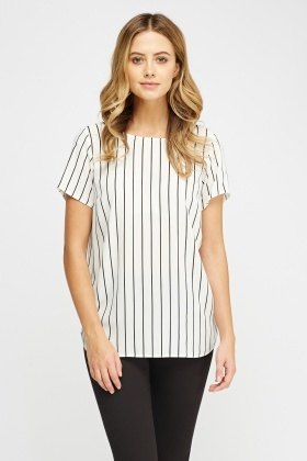 Bow Back Striped Blouse