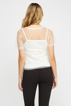 Crochet Mesh Overlay White Top
