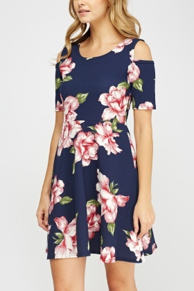 Cut Out Shoulder Floral Dress