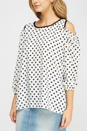 Cut Out Shoulder Polka Dot Top