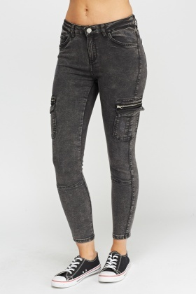 High Waist Washed Charcoal Jeans