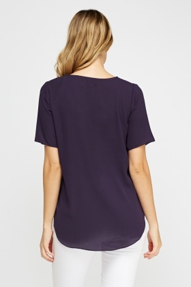 Purple Dip Hem Top