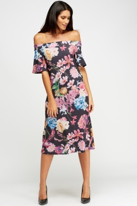 Black Off Shoulder Floral Midi Dress