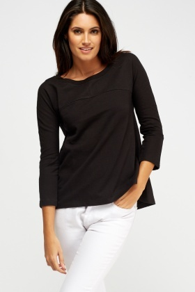 Dip Hem Black Sweater