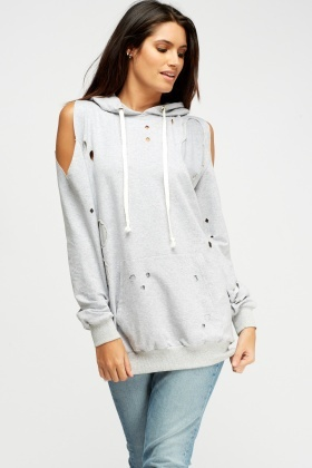 Distressed Hooded Jumper
