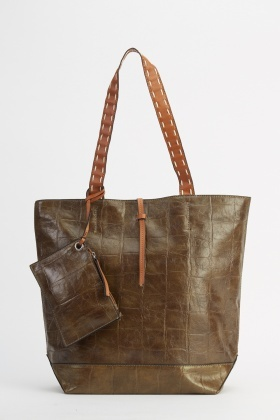 Mock Croc Faux Leather Tote Bag