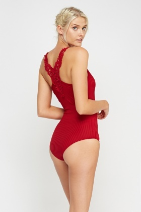 Crochet Back Ribbed Bodysuit