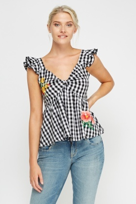 Embroidered Checked Top