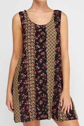 Mix Printed Shift Dress