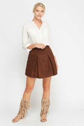 Pleated Suedette Skirt