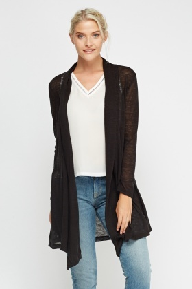 Speckled Asymmetric Long Cardigan