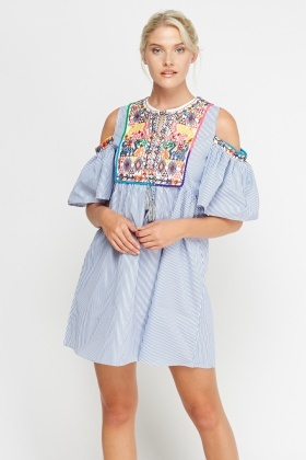 Tenki Embroidered Cold Shoulder Dress