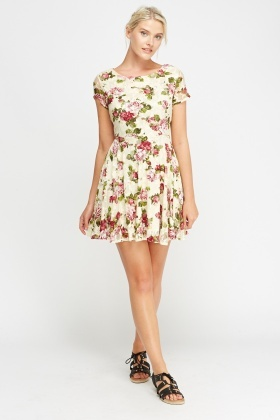 Tenki Mesh Overlay Floral Swing Dress