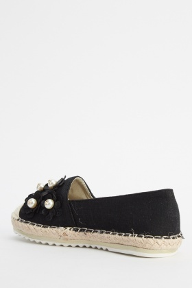 Embroidered Espadrille Slip On Shoes