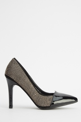 Encrusted Court PU Heels