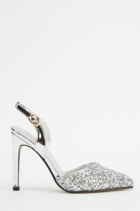 Glittered Court Sling Back Heels