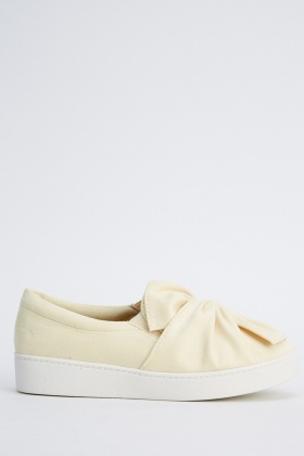 Knot Front Suedette Slip On Shoes