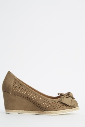 Laser Cut Suedette Wedge Shoes