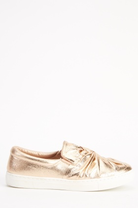 Metallic Twist Knot Slip On Shoes