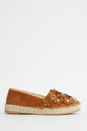 Suedette Embellished Espadrille Shoes