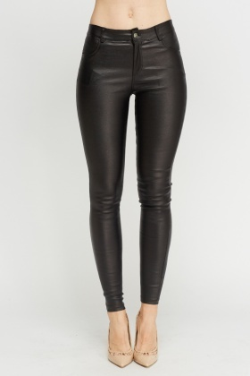 Black Waxed Skinny Fit Jeans