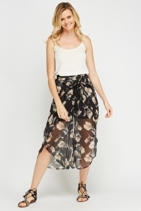 Black Wrapped Printed Culottes