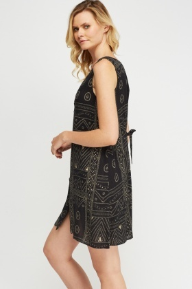 Button Up Printed Shift Dress
