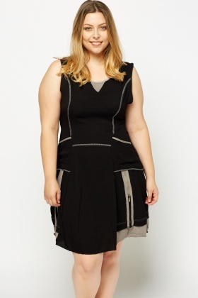 Contrast Trim Sleeveless Dress